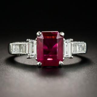 1.83 Carat Emerald-Cut Burmese Ruby Platinum Diamond Ring - GIA - 1