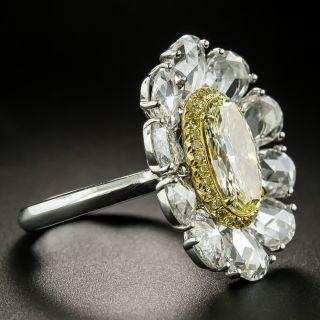 1.93 Carat Natural Fancy Yellow Diamond Flower Cocktail Ring - GIA