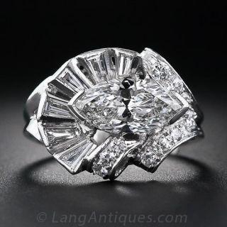 1.97 Carat Marquise Diamond Mid-Century Ring - 1