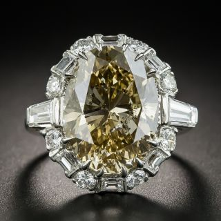 10.08 Carat Oval Natural Fancy Yellowish Brown Diamond Ring - 2