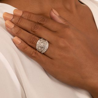 Art Deco .18 Carat Diamond Engagement Ring with Double Guard Rings by Jabel