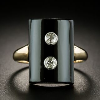 Victorian Onyx Twin Diamond Ring - 1