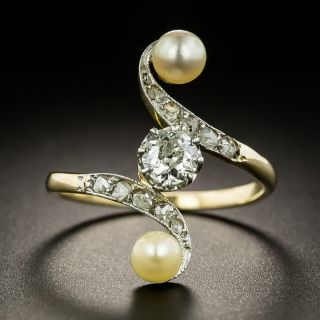 Edwardian Diamond And Natural Pearl Dinner Ring - 1