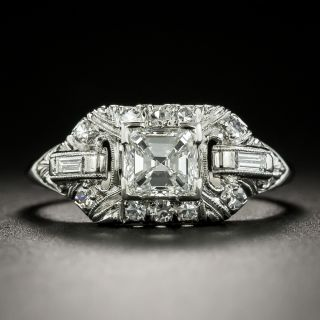 Late Art Deco .69 Carat Square Emerald Cut Diamond Ring - GIA F SI1 - 1