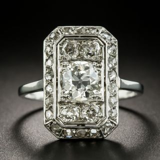 French Art Deco .91 Carat Center Diamond Dinner Ring - 1