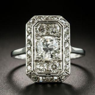 French Art Deco .91 Carat Center Diamond Dinner Ring - 1