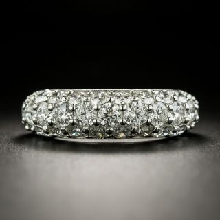 Three-Row Platinum Diamond Pavé Dome Band Ring - 1
