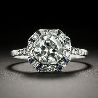 Art Deco Style 1.19 Carat Diamond and Sapphire Ring - GIA  J VS2 - 1