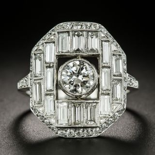 Art Deco Style .72 Carat Center Diamond Engagement Ring - 1
