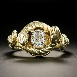 Vintage .70 Carat Old Mine-Cut Diamond Double Snake Ring - 1