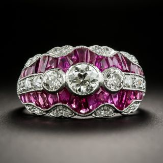 Art Deco Style Three-Stone Diamond and Calibre Ruby Ring - 1