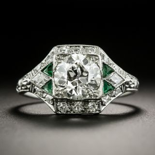 Art Deco 1.23 Carat Diamond and Emerald Engagement Ring - GIA N SI2 - 1