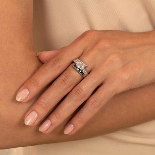 Art Deco .64 Carat Diamond and Sapphire Bypass Ring