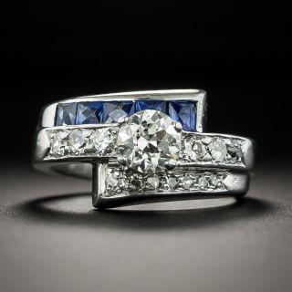 Art Deco .64 Carat Diamond and Sapphire Bypass Ring - 1