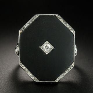 Large Art Deco Octagonal Onyx and Diamond Ring - 2