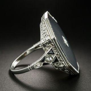 Large Art Deco Octagonal Onyx and Diamond Ring