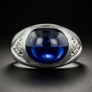10.38 Carat Cabochon Sapphire and Platinum Gent's Ring