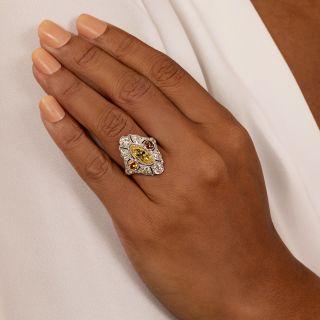 Art Deco 2.12 Carat Fancy Intense Yellow Moval Diamond Ring - GIA