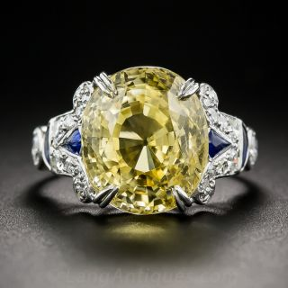 12.03 Carat Natural Yellow Sapphire and Diamond Art Deco Style Ring - 2