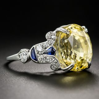 12.03 Carat Natural Yellow Sapphire and Diamond Art Deco Style Ring