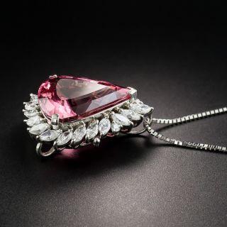 12.40 Carat Pear Shape Pink Tourmaline and Diamond Pendant