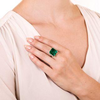 Mid-Century 12.90 Carat Colombian Emerald and Diamond Ring