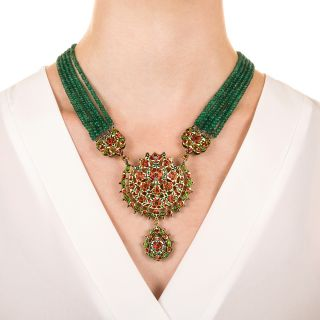 14.50 Carats Rose-Cut Diamond, Emerald and Enamel Mughal Necklace