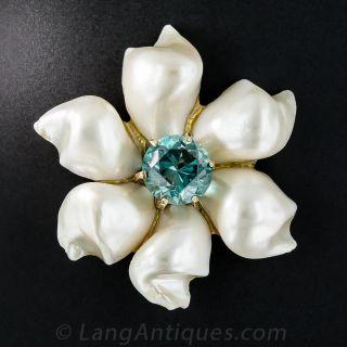 14k Pearl and Blue Zircon Brooch