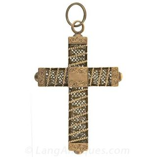 14k Victorian Cross with Woven Hair