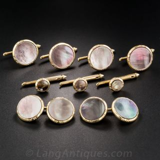 14K Yellow Gold Black Mother-of-Pearl Stud Set by Larter