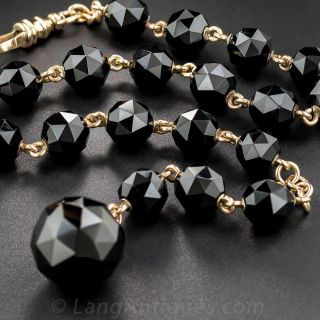 14K Yellow Gold, Faceted Onyx Watch Chain / Bracelet