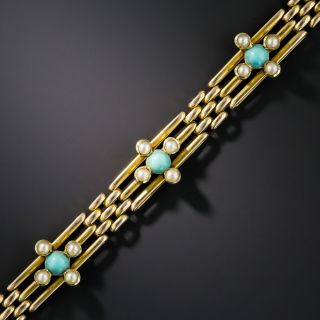 15K English Turquoise and Seed Pearl Bracelet