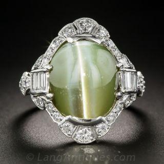 18.50 Carat Chrysoberyl Cat's-Eye Platinum Diamond Art Deco Ring - 1