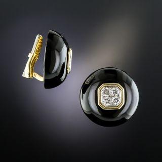 18K Black Onyx Diamond Ear Clips