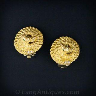 18K Coiled Serpent  Earrings - 1