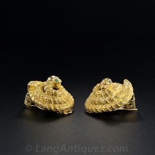 18K Coiled Serpent  Earrings
