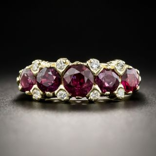 18K Five Stone Ruby and Diamond Ring  - 1