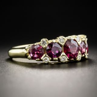 18K Five Stone Ruby and Diamond Ring