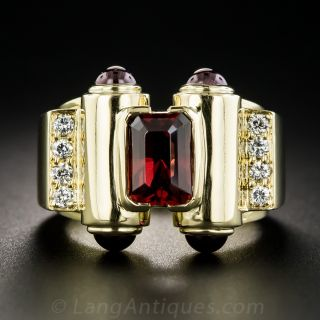 18K Garnet and Diamond Modern Diamond Ring - 1