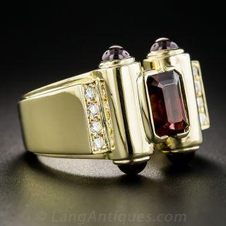 18K Garnet and Diamond Modern Diamond Ring