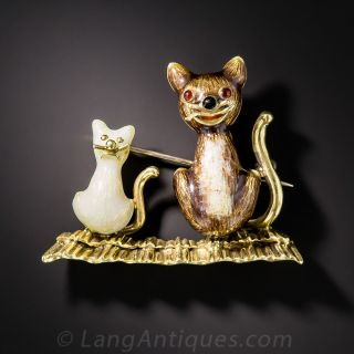 18k Mid Century Enameled Cat and Kitten Brooch