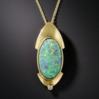 18K Modern Black Opal Pendant - 1