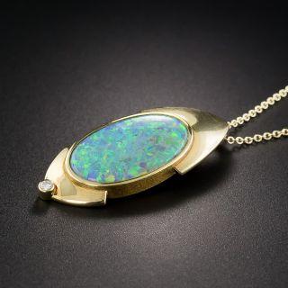 18K Modern Black Opal Pendant