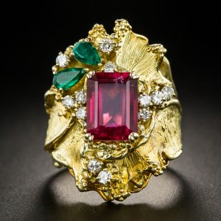 18K Pink Tourmaline, Emerald and Diamond Ring - 1