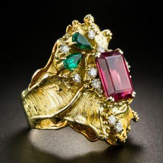 18K Pink Tourmaline, Emerald and Diamond Ring