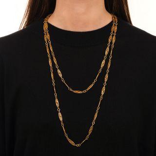 Long 54 1/2 Inch Antique Neck Chain