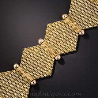 18K Two-Tone Hexagonal Link Mesh Bracelet
