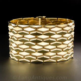 18K Wide Gold Retro Bracelet