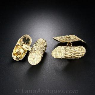 18K  Yellow Gold Italian Log Cufflinks