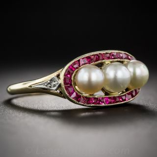 18K Yellow Gold Natural Pearl and Ruby Ring